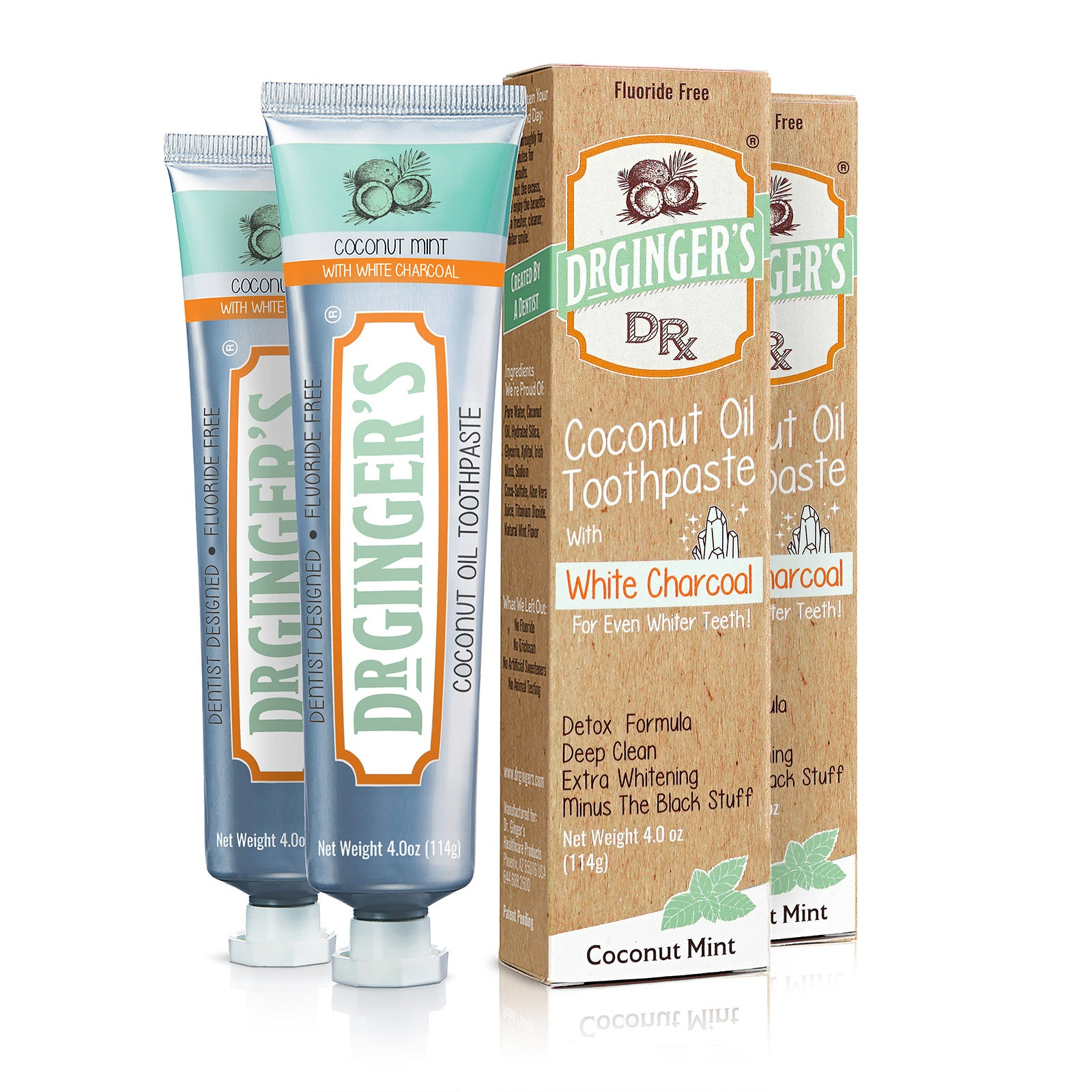 Dr. Ginger's White Charcoal Toothpaste, Two Tubes and Boxes