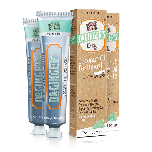 Dr. Ginger's Coconut Oil Toothpaste, Two Tubes and Boxes