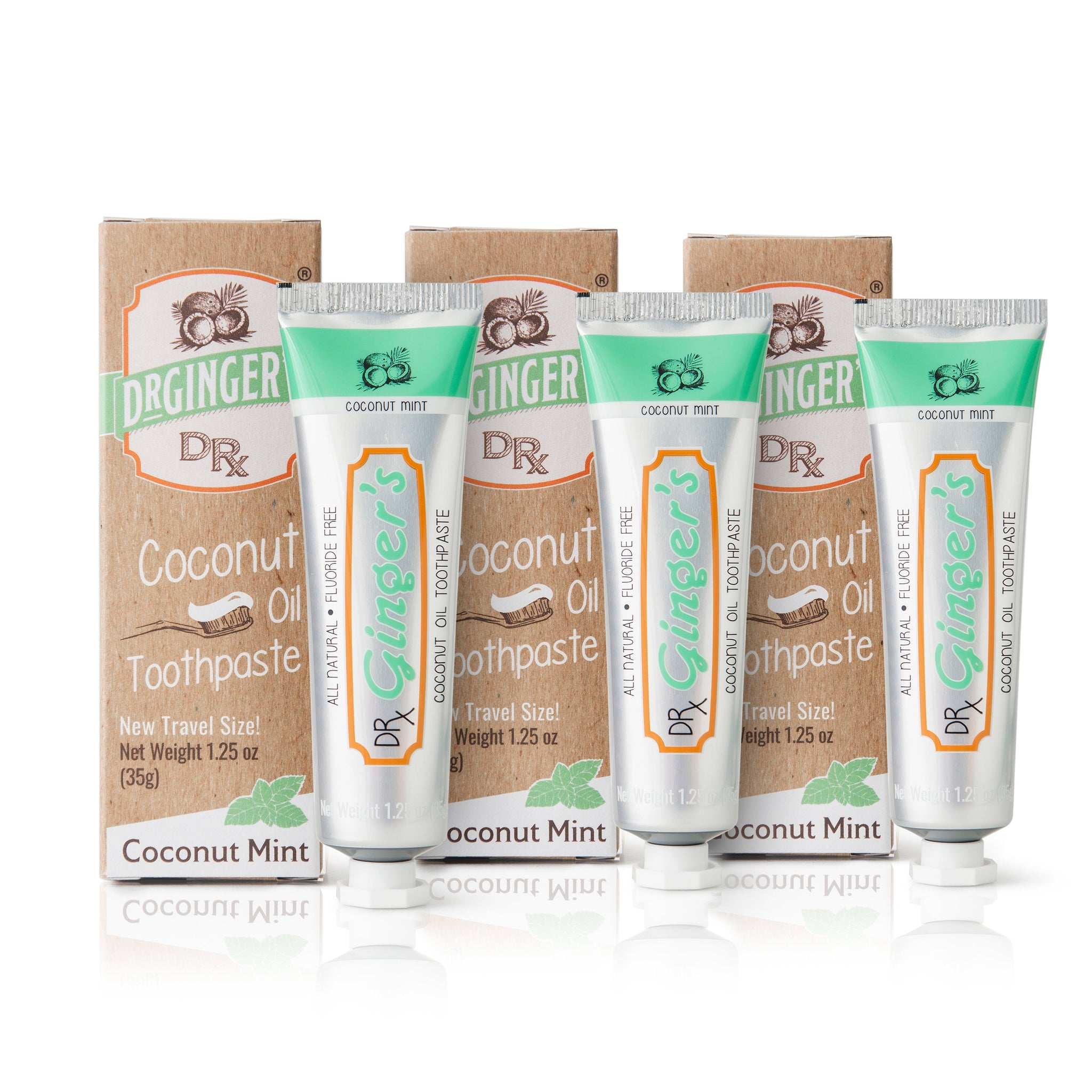 Dr. Ginger's Travel size Coconut Oil Toothpaste Triple Bundle