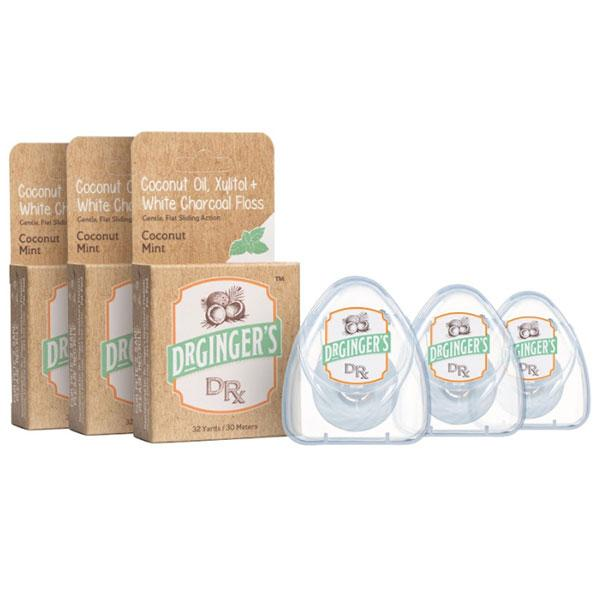 Dr. Ginger's Coconut Oil White Charcoal Floss Triple Pack Product Image - Gentle, Flat Sliding Action