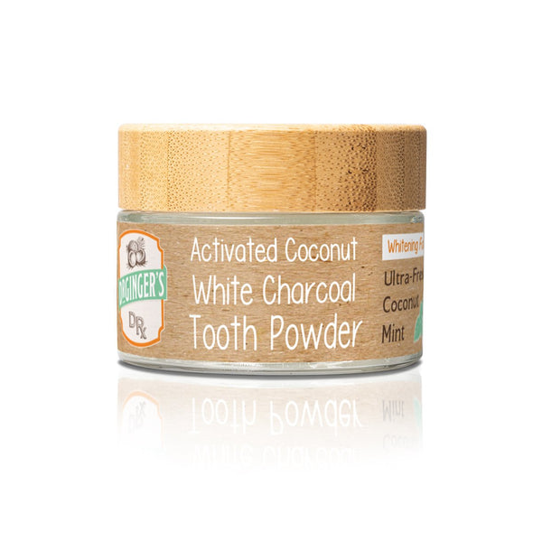 Dr. Ginger's Coconut Oil White Charcoal Tooth Powder Product Image - Mint Flavored