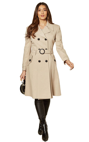 Vienna Stone Double Breasted Trench Mac Coat