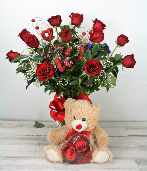 One Dozen Long Stem Red Roses with Fillers in  a vase, Plus a Teddy Bear & Chocolates