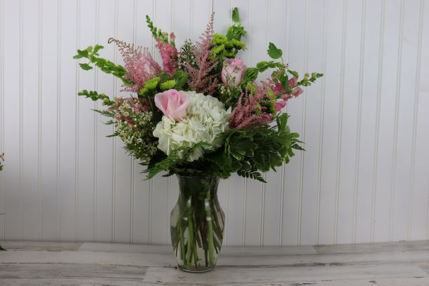 Blushing Bride Tall Vase in Pinks