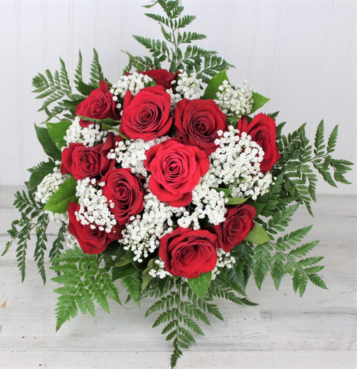 One Dozen Long Stem Red Roses Bouquet with Baby's Breath