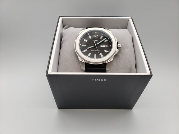 Timex Essex Avenue 44mm Leather Strap Watch - Black - Gear Supply Company