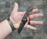 FOX KNIVES RADIUS FOLDER KNIFE CARBON FIBER COPPER HANDLE BLACK M390 PLAIN BLADE 01FX863 - Gear Supply Company