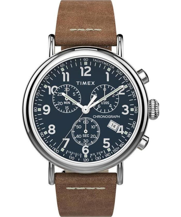 Standard Chrono 41mm Silver-tone Case Blue Dial Brown Leather Strap TW2T68900VQ - Gear Supply Company