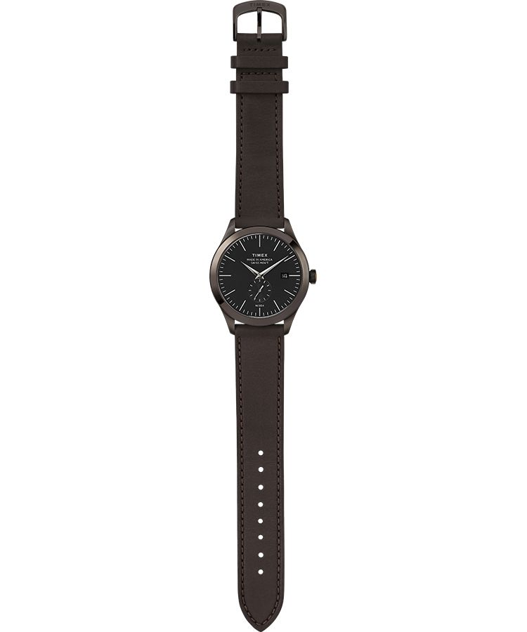 American Documents® 41mm Leather Strap Watch: Gunmetal/ Brown/ Black - Gear Supply Company