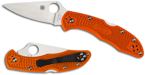 "Spyderco Delica 4 Knife Flat Ground Orange FRN (2.88"" Satin) C11FPOR - Gear Supply Company"
