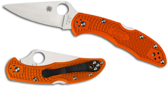 Spyderco Delica 4 Knife Flat Ground Orange FRN (2.88