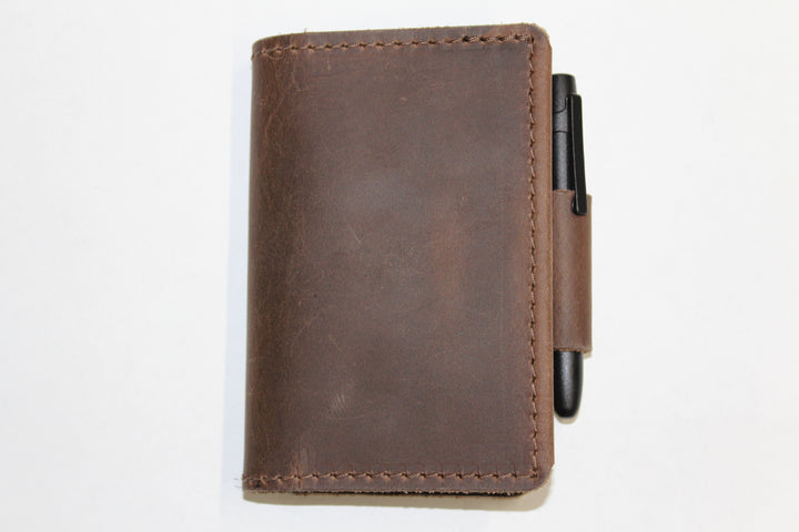 Orbiter Leather Wallet/Pocket Notebook Combo - With Space Pen: Dark Brown - Gear Supply Company