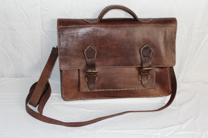 Travelers Attache Leather Bag: Dark Brown (Slightly Blemished) - Gear Supply Company