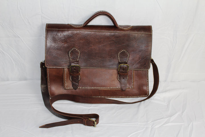 Travelers Attache Leather Bag: Dark Brown - Gear Supply Company
