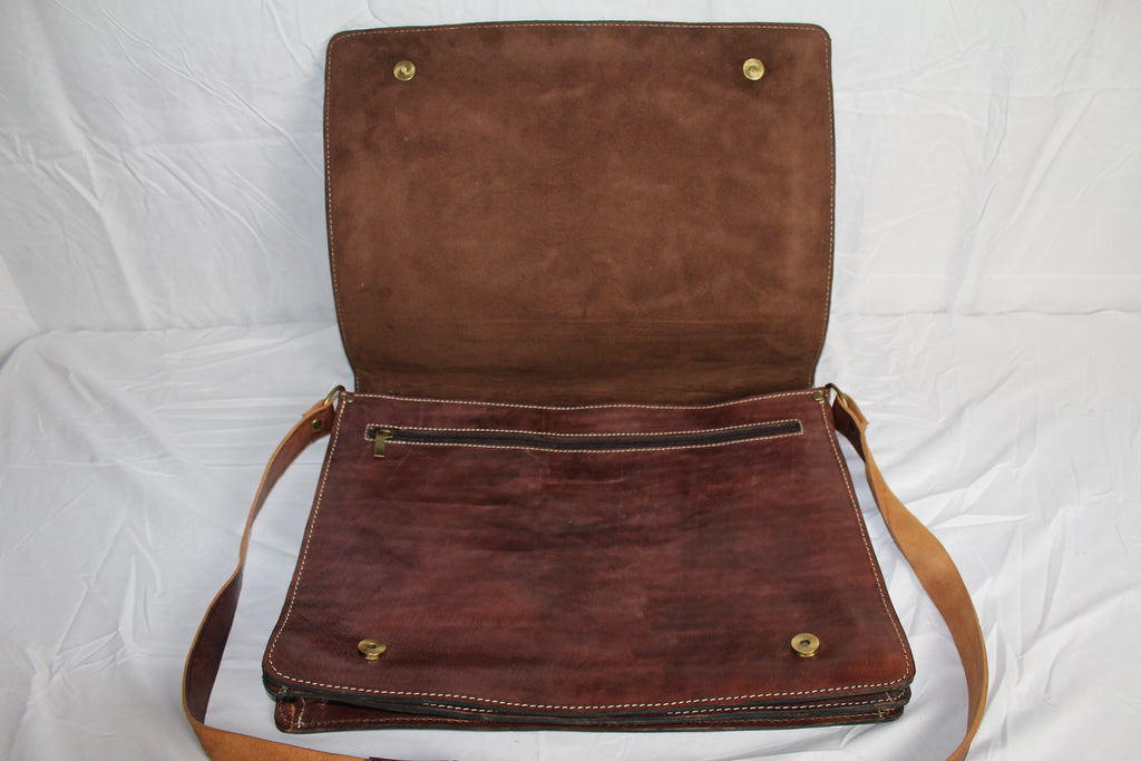 Travelers Leather Briefcase: Dark Brown - Gear Supply Company