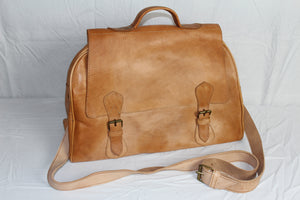 Travelers Small Leather Duffel Bag: Antique White - Gear Supply Company
