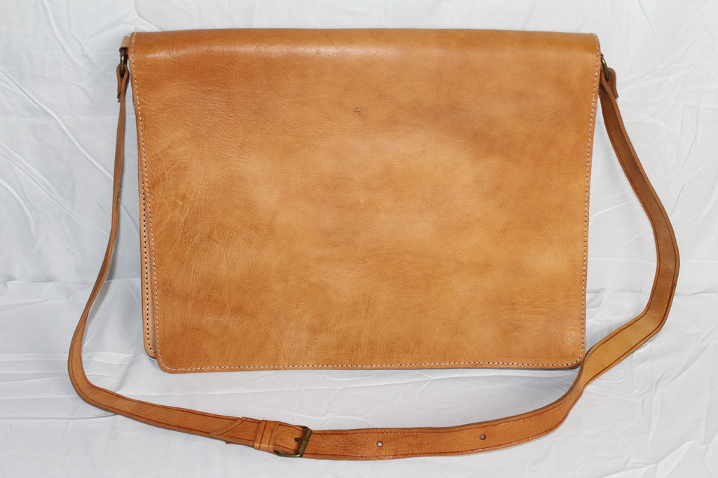 Travelers Leather Briefcase: Antique White - Gear Supply Company