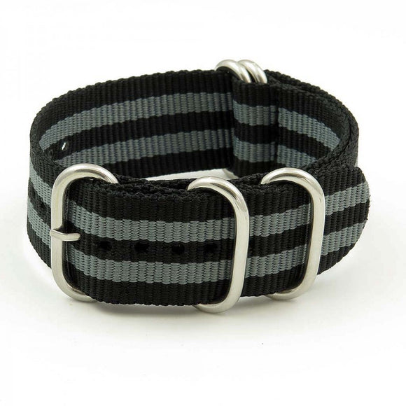 Nylon 5 Ring NATO Watch Strap - 20mm, Black / Grey - Gear Supply Company