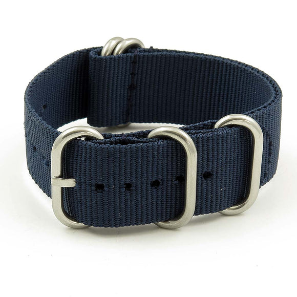 Nylon 5 Ring NATO Watch Strap - 22mm, Navy Blue - Gear Supply Company