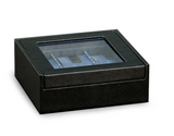 BeyBerk Six watch case with glass top black leather. - Gear Supply Company