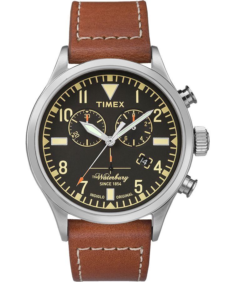 Waterbury Traditional Chronograph 42mm Leather Strap Watch - Gear Supply Company