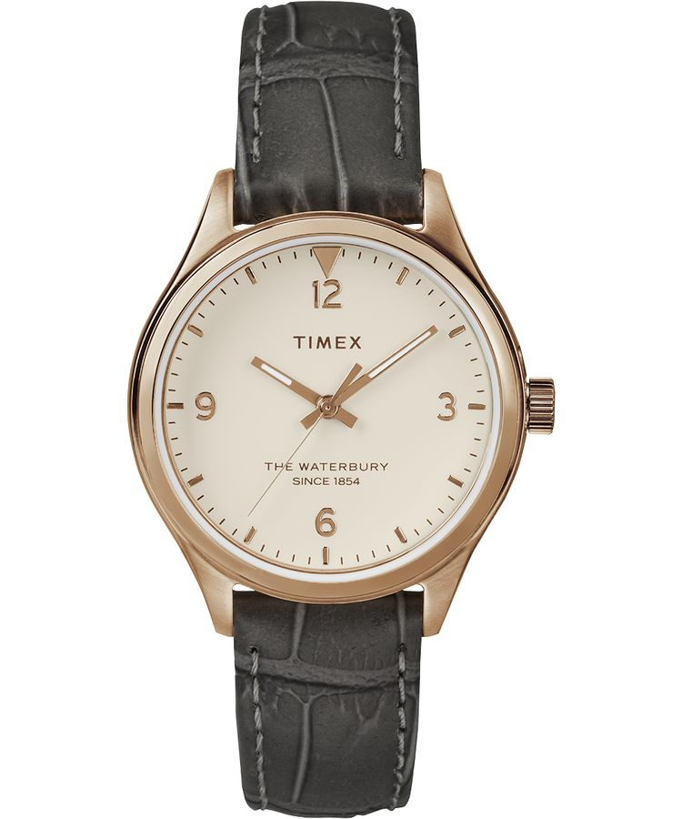 Waterbury Traditional 34mm Leather Strap Watch: Rose-Gold-Tone/Gray/White - Gear Supply Company