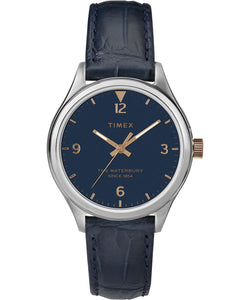 Waterbury Traditional 34mm Leather Strap Watch: Stainless-Steel/Blue - Gear Supply Company