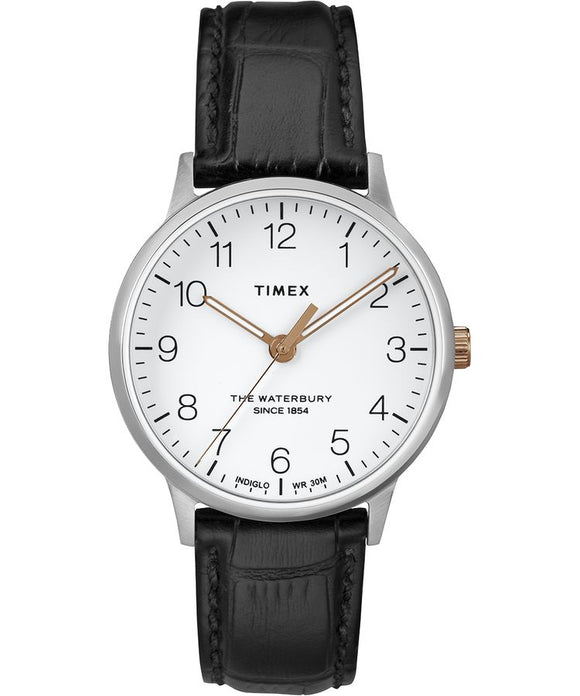 Waterbury Classic 36mm Leather Strap Watch: Stainless-Steel/Black/White - Gear Supply Company