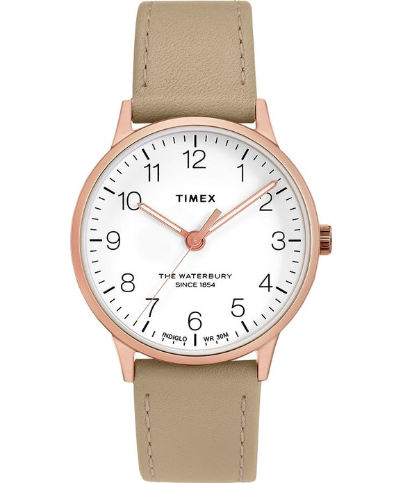 Waterbury Classic 36mm Leather Strap Watch: Rose-Gold-Tone/Tan/White - Gear Supply Company