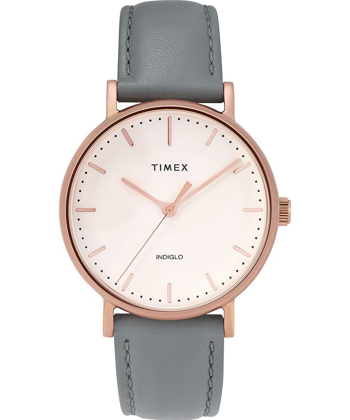 Fairfield 37mm Leather Strap Watch: Rose-Gold-Tone/Gray/Cream - Gear Supply Company