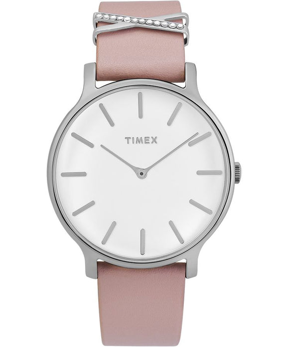 Transcend 38mm Leather Strap Watch: Silver-Tone/Pink/White - Gear Supply Company