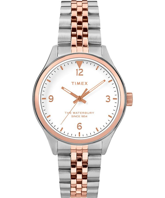 Waterbury Traditional 34mm Stainless Steel Bracelet Watch: Two-Tone/Cream - Gear Supply Company