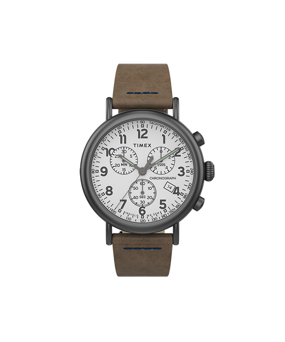Standard Chrono 41mm Gunmetal Case White Dial Brown Leather Strap TW2T69000VQ - Gear Supply Company