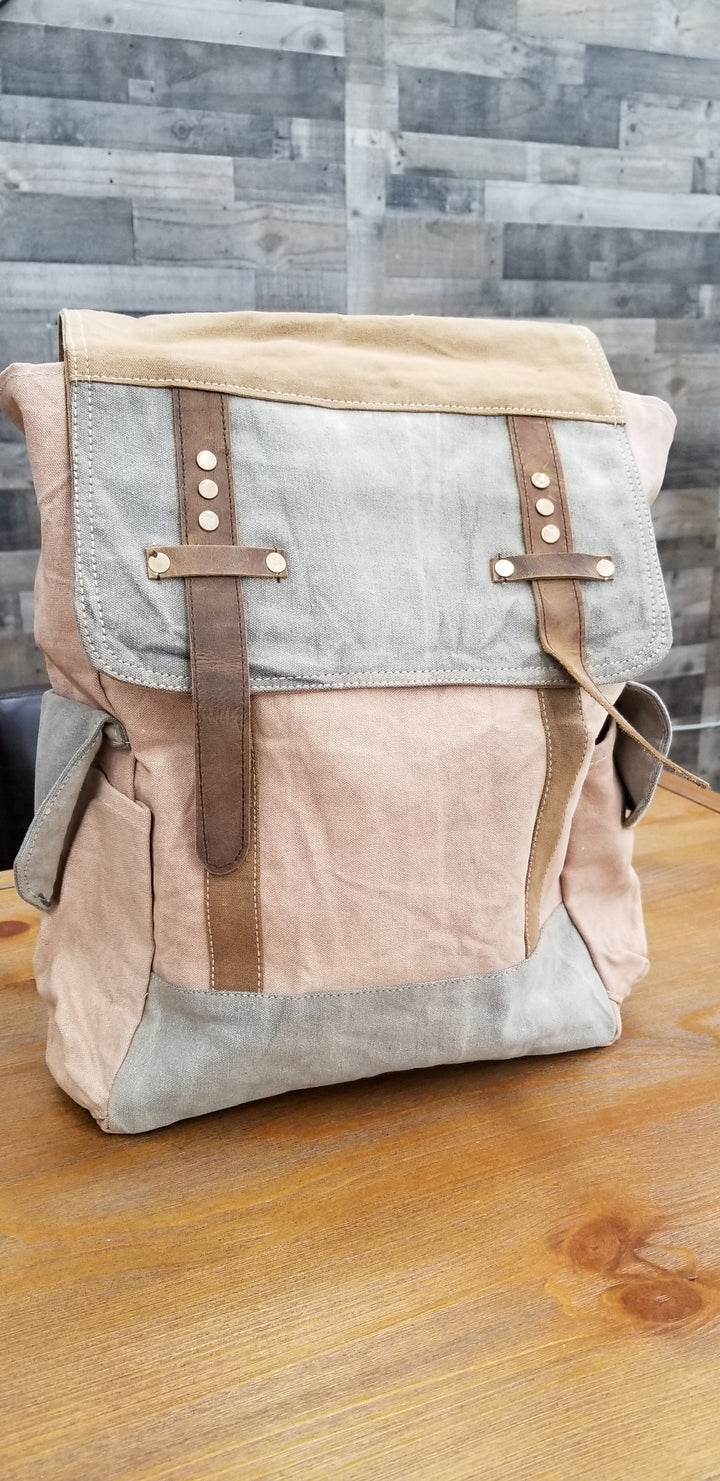 Washed Canvas Backpack with Leather - Gear Supply Company