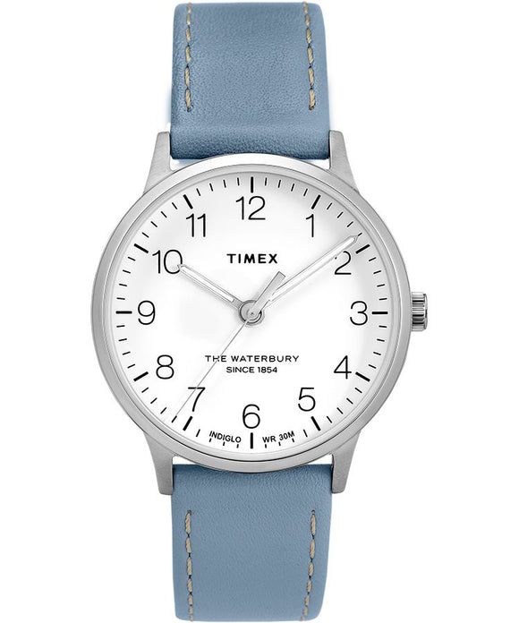 Waterbury Classic 36mm Leather Strap Watch: Stainless-Steel/ Blue/ White - Gear Supply Company