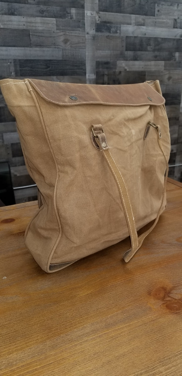 Washed Canvas Shoulder Bag with Leather Straps - Gear Supply Company