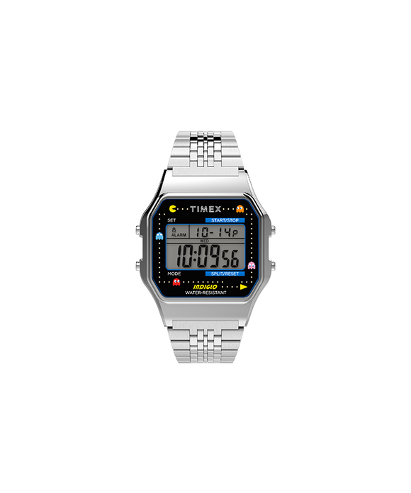 Timex T80 x PAC-MAN™ 34mm Stainless Steel Bracelet Watch TW2U31900YB - Gear Supply Company