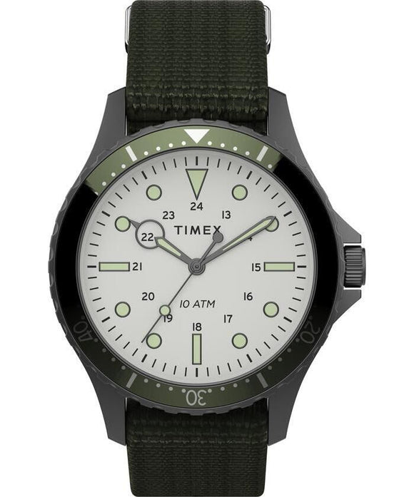 Navi 41mm Gunmental Case White Dial Green Fabric Strap TW2T75500VQ - Gear Supply Company
