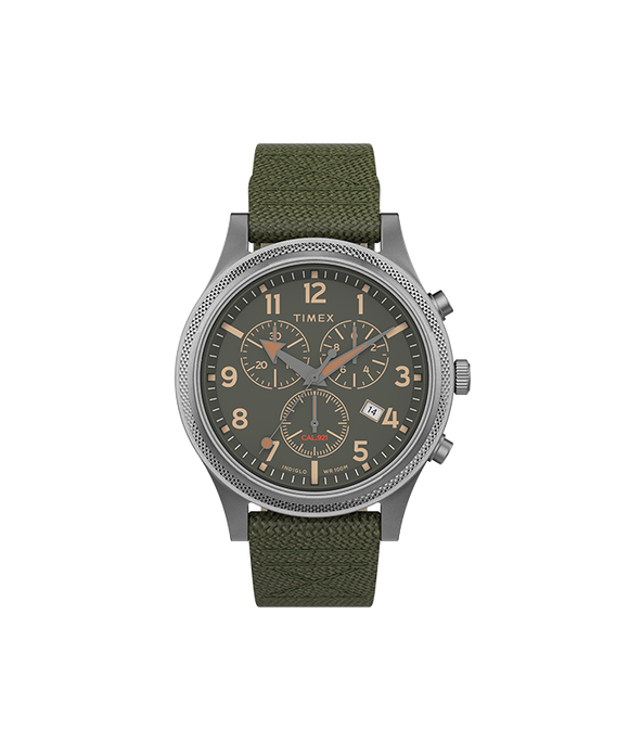 Allied LT Chrono 40mm Silver-tone Case Green Dial Green Fabric Strap TW2T75800VQ - Gear Supply Company