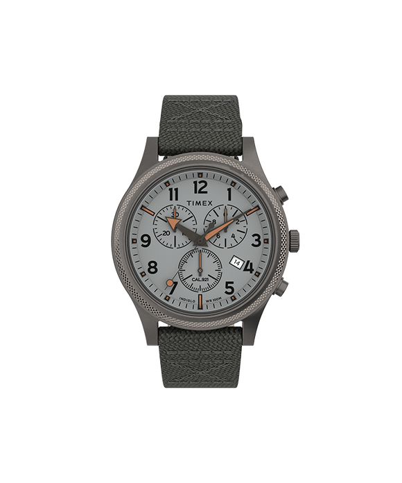 Allied LT Chrono 40mm Grey Case Silver-tone Dial Grey Fabric Strap TW2T75700VQ - Gear Supply Company