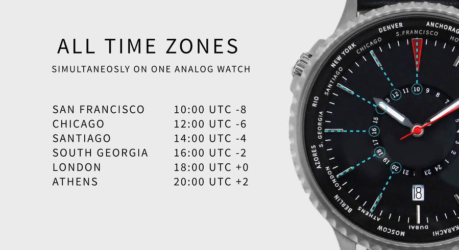 Cloud White World Traveller | 24 Time Zones On a World Timer - Gear Supply Company