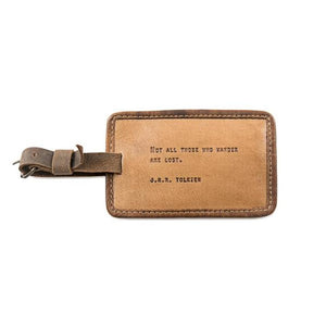"Leather Luggage Tag - J.R.R. Tolkien 5"" x 3"" - Gear Supply Company"