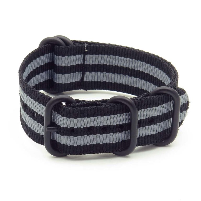 Nylon 5 Ring NATO Watch Strap - 20mm, Black/Grey - Gear Supply Company