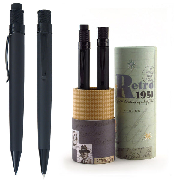 Retro51 Tornado Rollerball and Pencil Gift Set - Stealth - Gear Supply Company