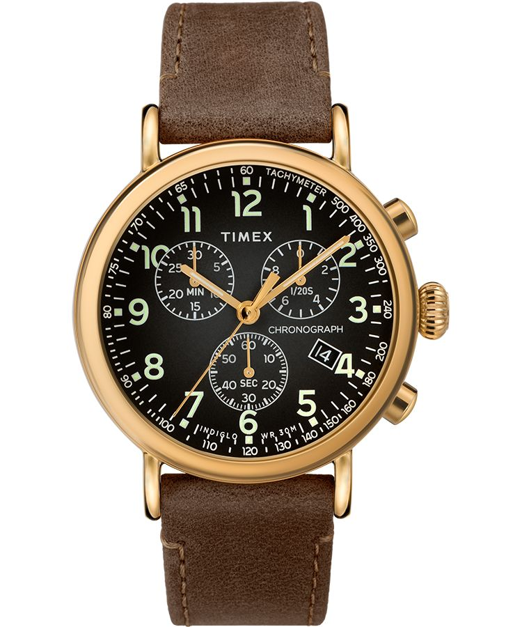 Standard Chronograph 41mm Leather Strap Watch: Gold-Tone/Brown/Gray - Gear Supply Company