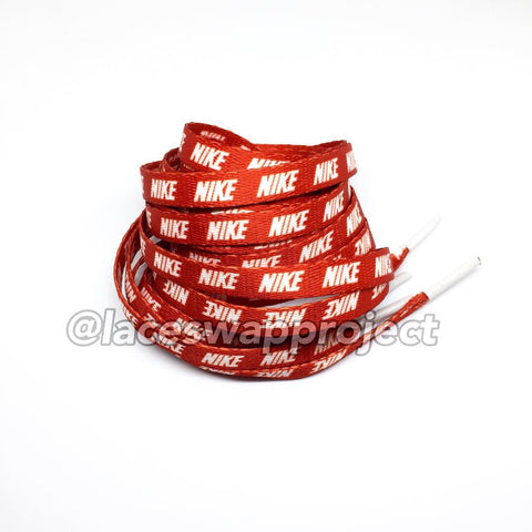 Red Shoelaces with White Print