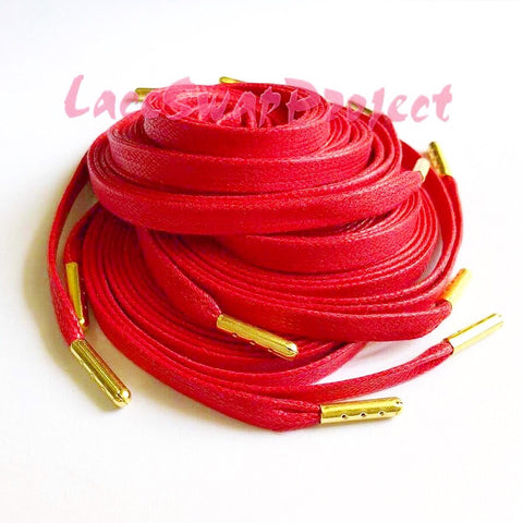 Red Flat Waxed Shoelaces with Gold Aglets
