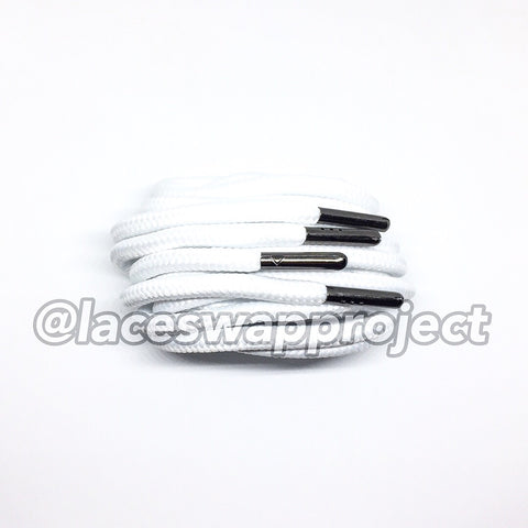 White Thick Rope Laces with Black Chrome Aglets
