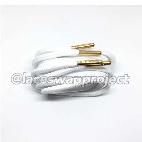 White Thick Rope Laces with Gold Aglets