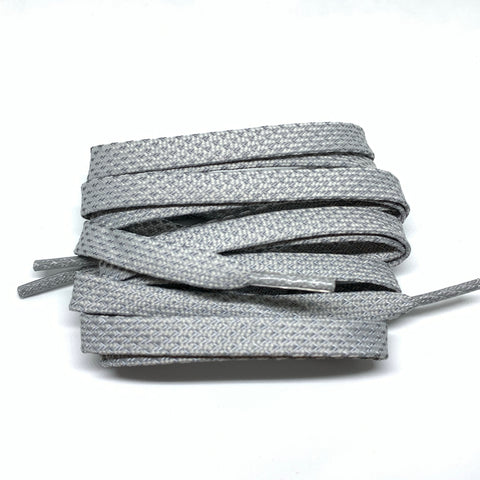 Grey Flat Reflective Shoelaces